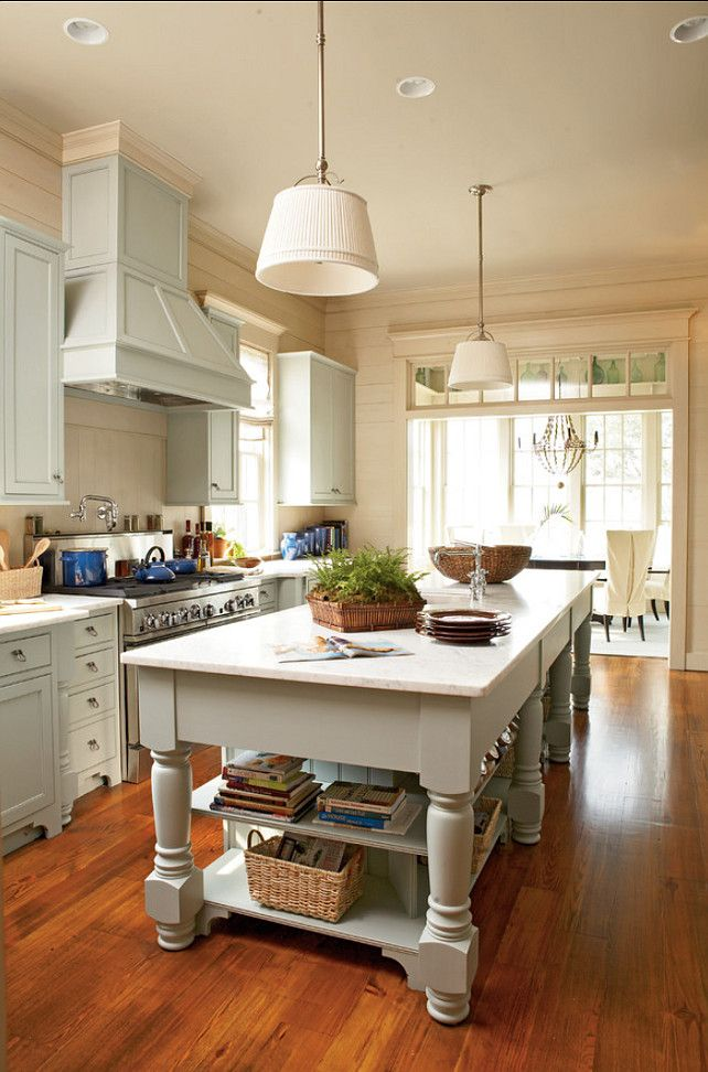 Coastal Kitchen (I like the long island, and the dining area beyond the doorway topped with the transom.)