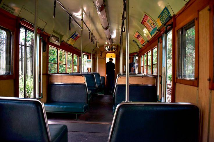 Inside fm class brisbane tram no 548 at sydney tramway
