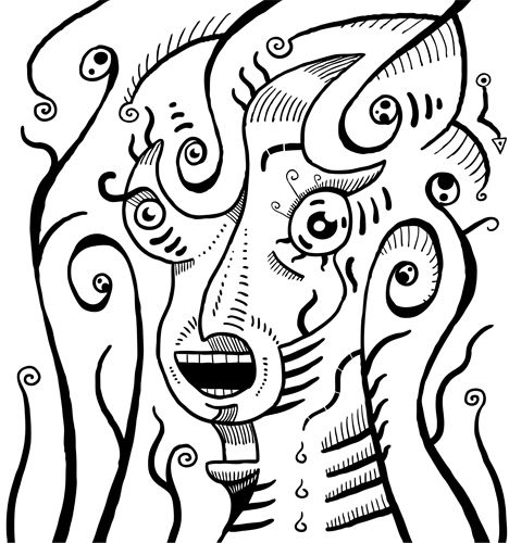 #Scream #illustration is black and white #artwork of #surrealism style scream. Automatic #drawing of a subconscious mind.  #surrealismo #surrealismus #arte #kunst