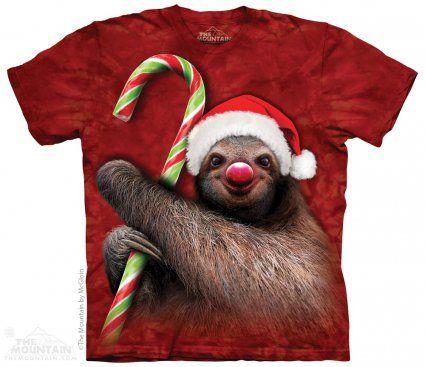 Candy Cane Sloth - Leniwiec - The Mountain - świąteczna koszulka z leniwcem - sklep internetowy www.veoveo.pl