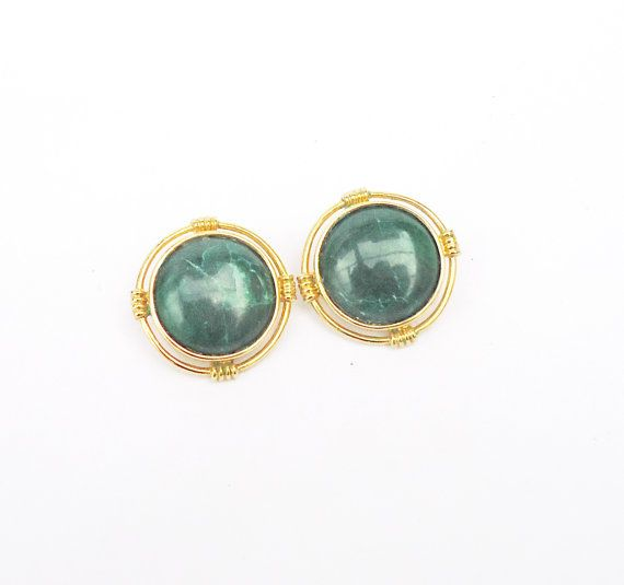 Vintage Green Gemstone Clip on Earrings by thesecretcupboard, £13.00