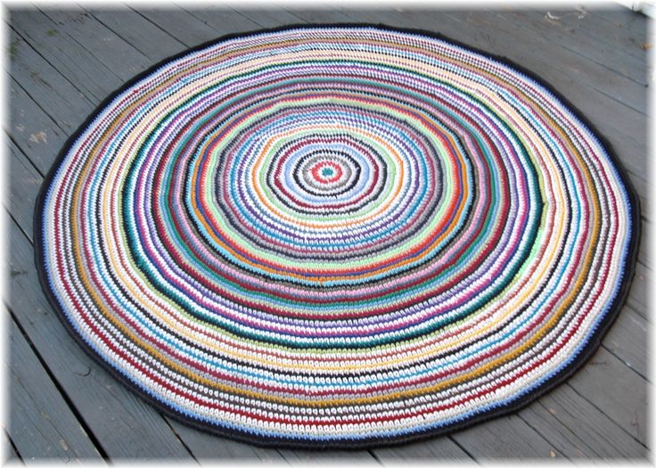 Large Rag Rug Crocheted From Recycled Cotton Tee Shirts Multi Color 70 ...