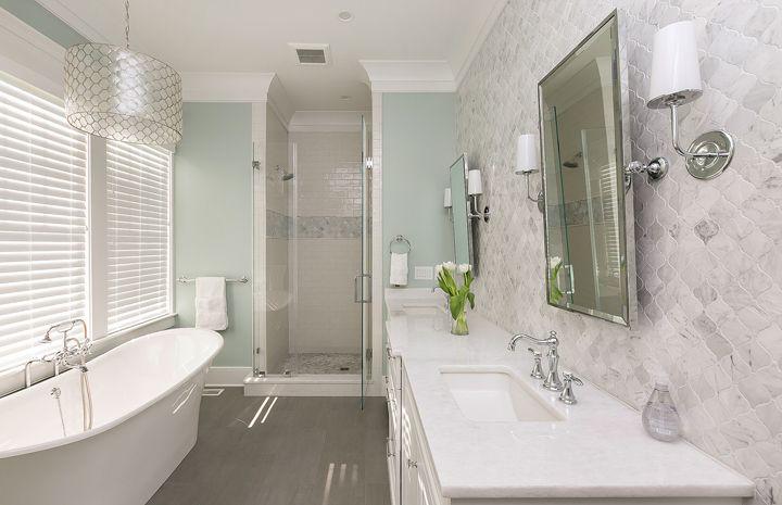 master bathroom with freestanding soaking tub | Mahshie Custom Homes