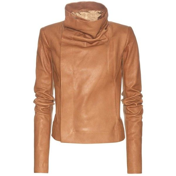Rick Owens Clean Biker Leather Jacket (91,385 INR) ❤ liked on Polyvore featuring outerwear, jackets, rick owens, genuine leather jackets, camel leather jacket, real leather jackets and camel jacket