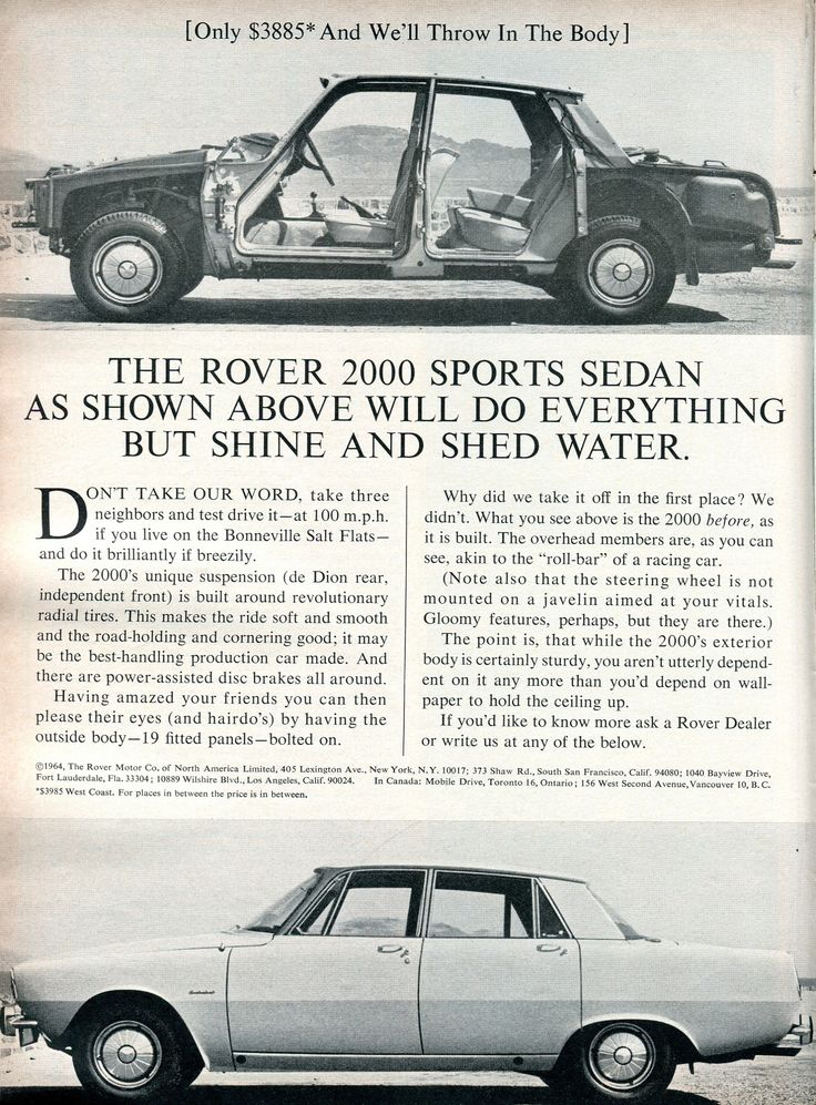 Rover 2000 ad from 1965