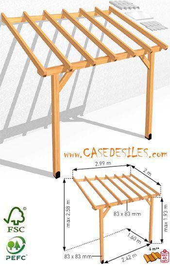 Auvent de terrasse bois adossant 6mc ABS3020