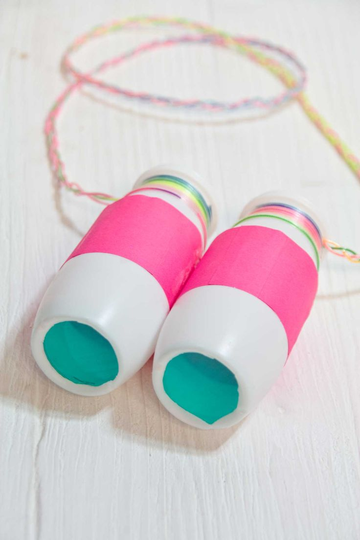 Cute little neon binoculars made from yogurt containers