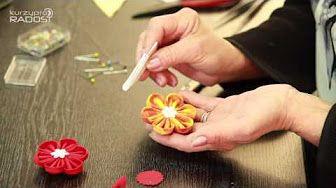Kanzashi - textilní kytičky - díl 1. - YouTube