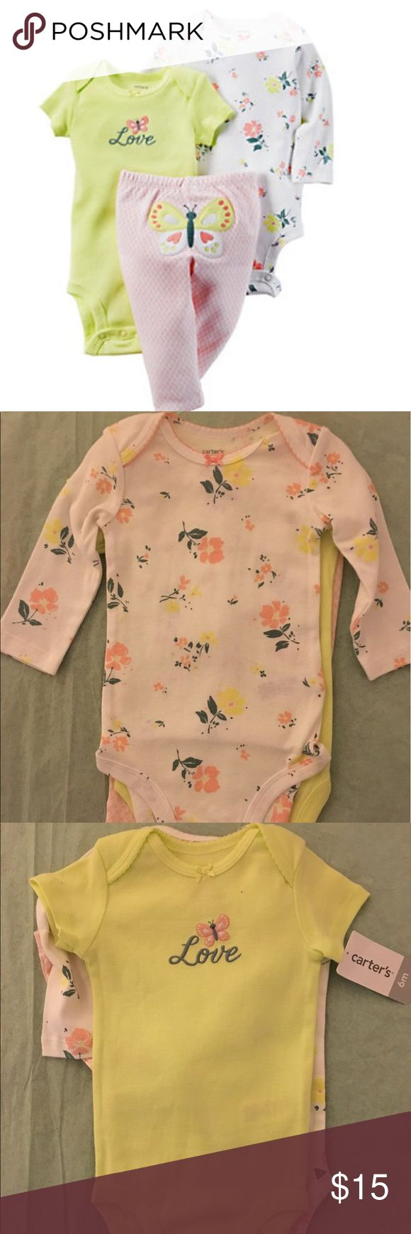 "Baby Girl Carter's Floral Bodysuit & Butterfly Set Brand New With Tags  Give your little sweetie an adorable everyday look with this girls' Carter's bodysuit and pants set. In pink/yellow.  PRODUCT FEATURES 3-piece set includes: long-sleeved bodysuit, short-sleeved bodysuit & pants Bodysuits: envelope neck, inseam snaps Pants: elastic waistband Floral pattern Embroidered ""Love"" & butterfly appliques Picot trim FABRIC & CARE Cotton Machine wash Imported   I11 Carter's Matching Sets"