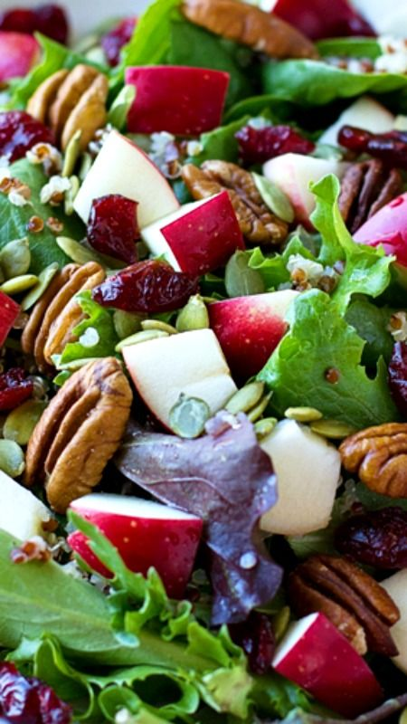APPLE HARVEST SALAD ~ with a homemade vinaigrette dressing... Light, healthy and packed full of fiber and protein