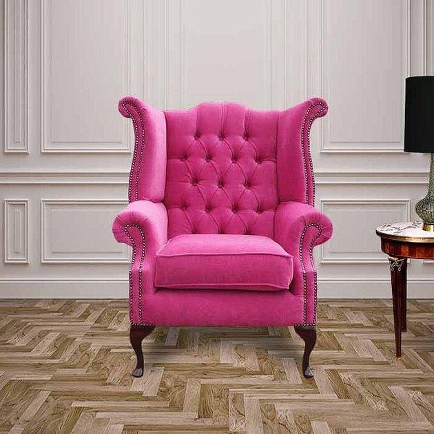 This stylish pink Chesterfield fabric Queen Anne high back wing chair is a perfect furniture piece for your home. It comes with 12 months international warranty.