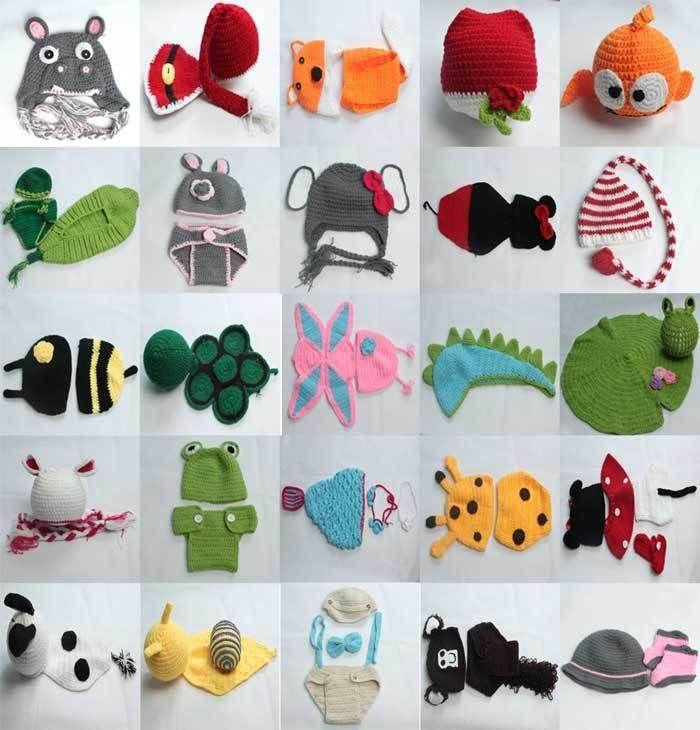 $7.69 Hippo - Newborn Baby Crochet Knitted Animal Costume Photography Prop Beanie Hat Cap Set  #Unbrand