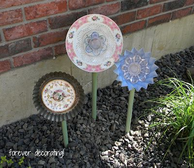 Forever Decorating!: China Garden Flower Tutorial! - flowers from dishes with flattened spoon and green painted PVC
