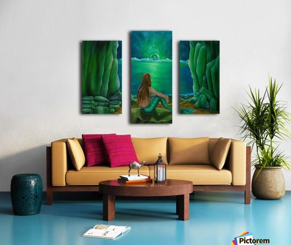 Triptych, 3 split,  stretched, canvas, multi panel, prints, for sale, mermaid, painting, coastal, fantasy, scene, mystical, beach, cave, aquatic, life, creature, seascape, sitting, pose, on rocks, mythical, mythological, magical, atmospheric, romantic, nostalgic, moonlight, night, theme, fish, water, merpeople, fantasy, green, beautiful, awesome, cool, contemporary, imaginary, figurative,fine,oil,wall,art,images,home,office,decor,artwork,items,ideas,pictorem