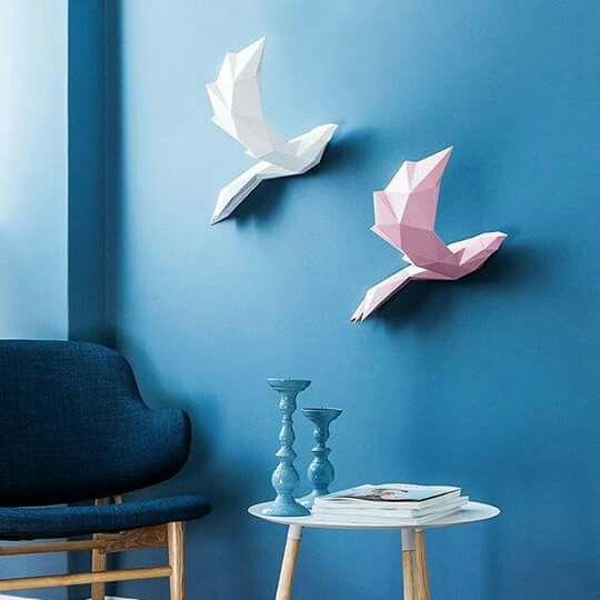 Agregar algode luz, le dará mas vida a tu habitación en especial con estas lindas aves #palomas #aves #poligonal