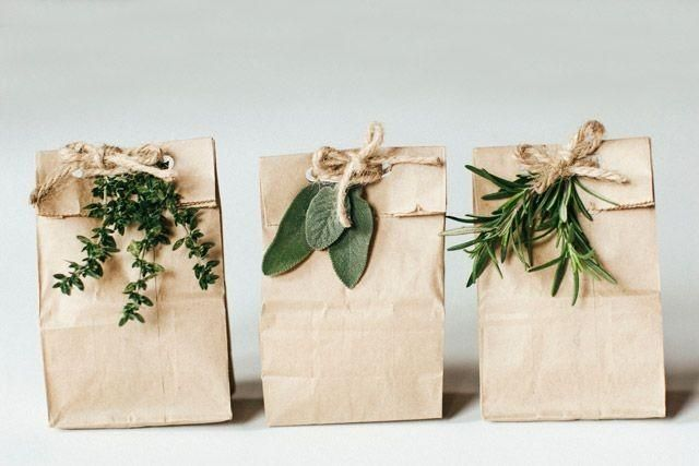 Paper Bags Adorned With Greens