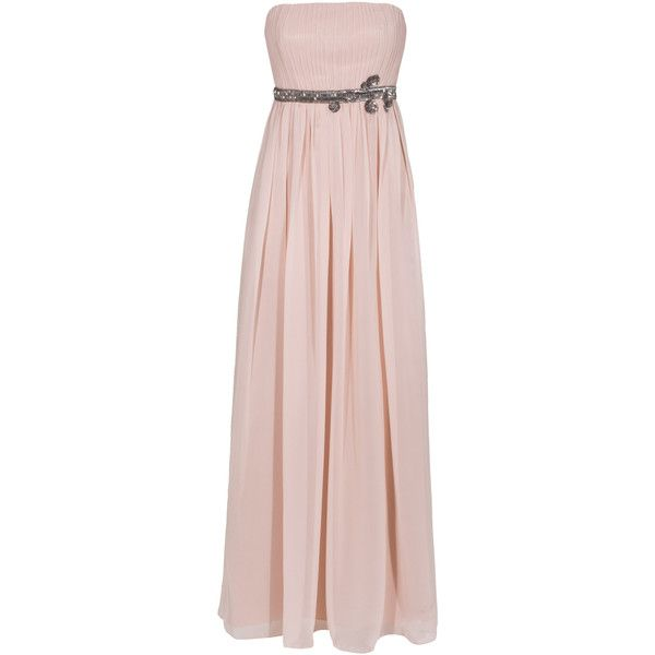 YOUNG COUTURE BY BARBARA SCHWARZER Long Pleat Nude Pleated evening... ($355) ❤ liked on Polyvore featuring dresses, gowns, vestidos, long sequin gown, long sequin dresses, pink maxi dress, bandeau bikini top and long beaded gown