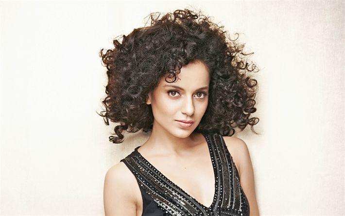 Télécharger fonds d'écran Kangana Ranaut, l'actrice Indienne, 4k, Bollywood, portrait, brune, noire de cheveux bouclés