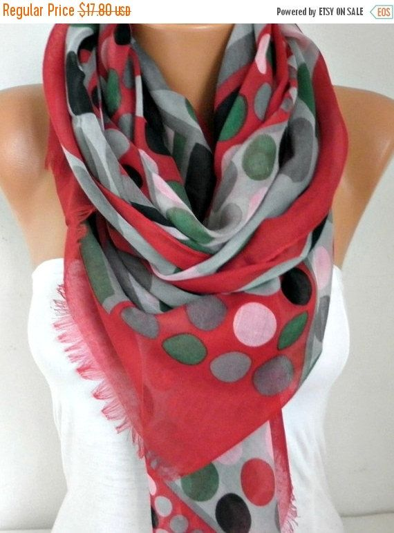 Gray Polka Dot Cotton ScarfSpring Shawl Christmas Gift by fatwoman