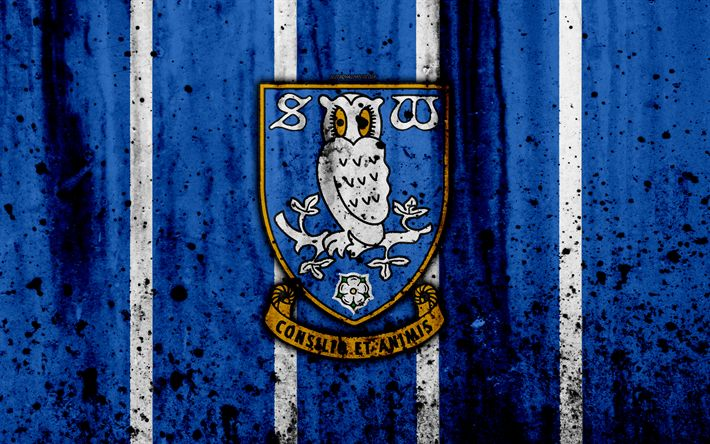 Download wallpapers 4k, FC Sheffield Wednesday, grunge, EFL Championship, art, soccer, football club, England, Sheffield Wednesday, logo, stone texture, Sheffield Wednesday FC