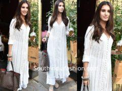 f136bed647 Tara Sutaria in a white chikankari suit   Designer suits ...