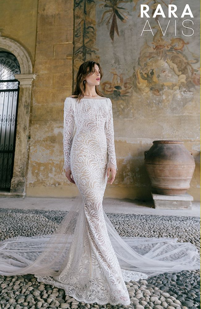 Chic lace vintage wedding dress 'Roksi' with long lace sleeves and open back.Luxury collection from Rara Avis designer.