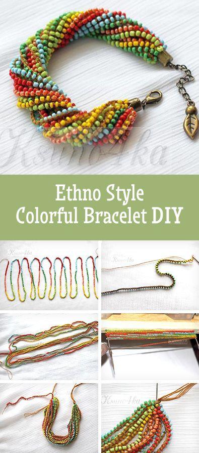 Ethno style colorful beaded bracelet tutorial | Делаем яркий браслет из бисера в этно стиле