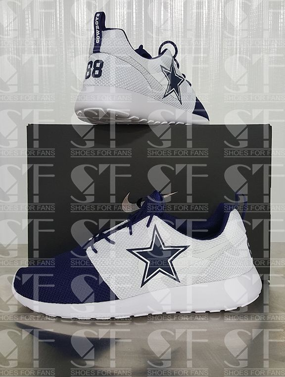 Dez Bryant Nike Roshe Ones ‪#‎dallascowboys‬  Only 250 pairs made! Get them now at www.kicks4fans.com our fb page is https://www.facebook.com/Team-Footwear-1044537712282685 call us at 844-223-3727