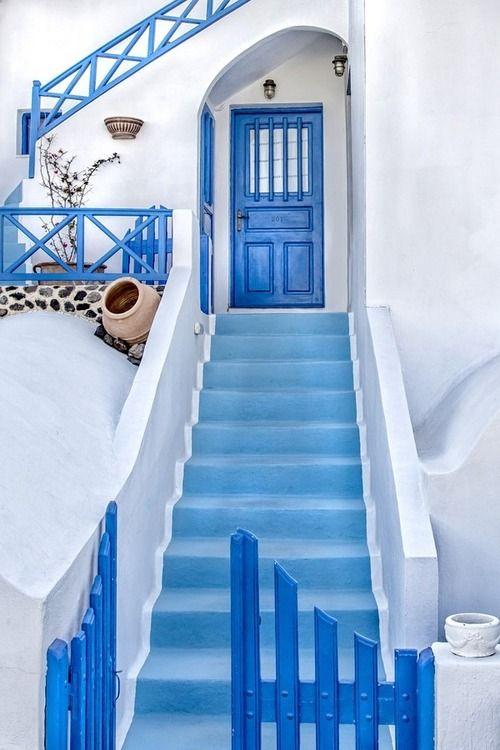 White and Blue in Santorini , Greece