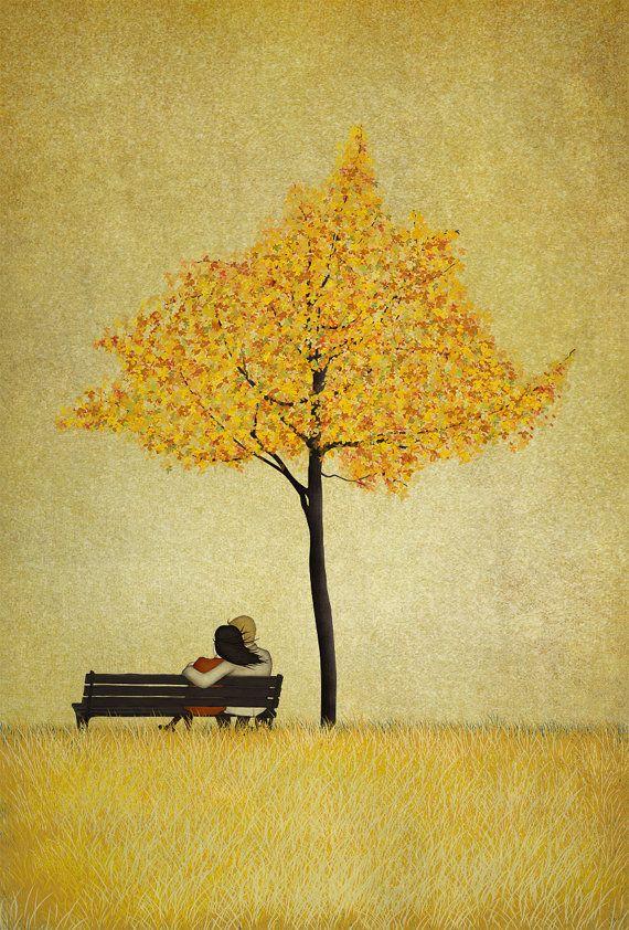 Under the cherry tree/Autumn  A4 size 8.3 x 11.7  by majalin