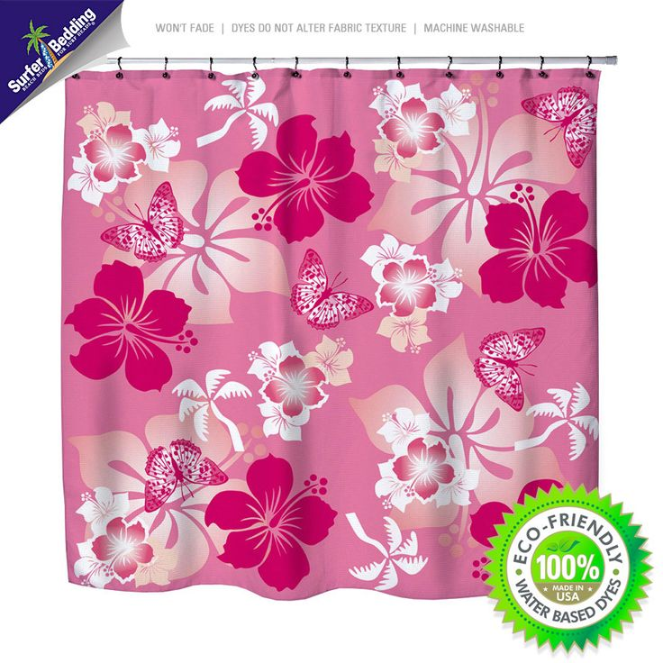 Pink Hibiscus Eco Friendly & Crafted in USA Hawaiian Shower Curtain