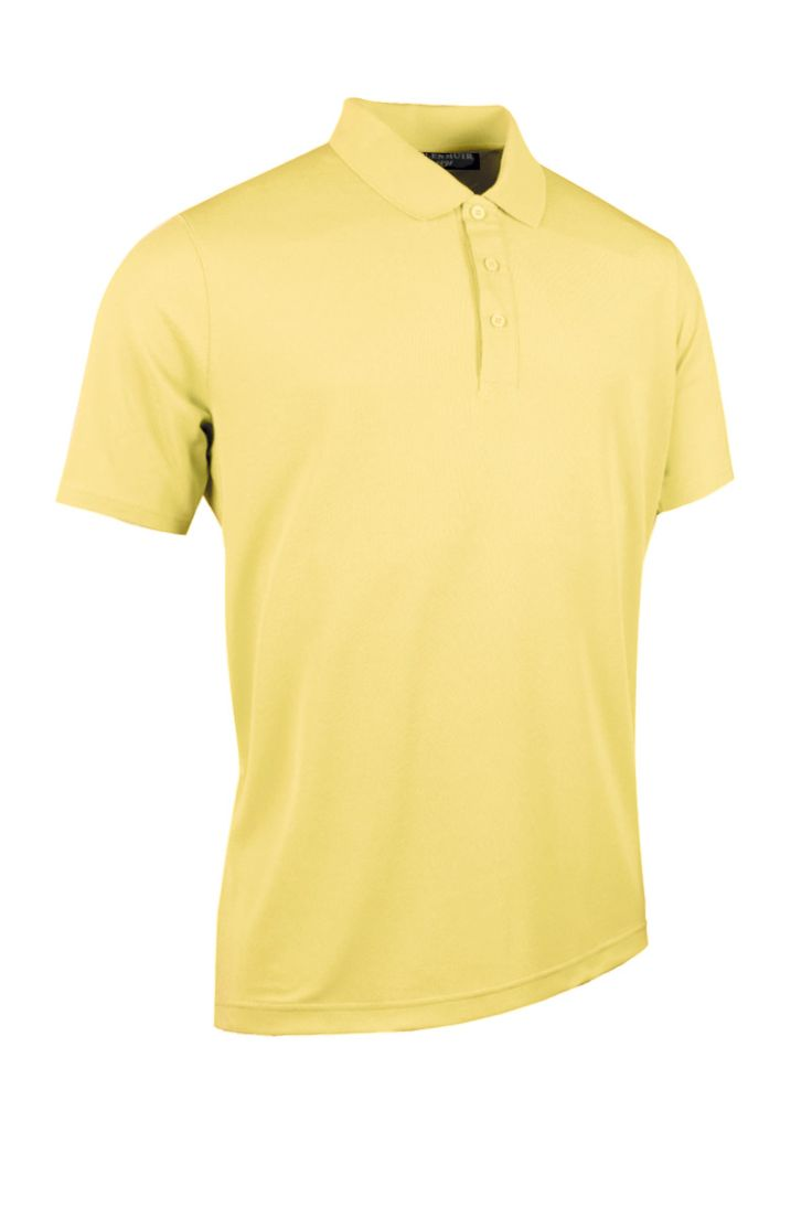 Glenmuir Mens Performance Pique Golf Polo Shirt - Light Yellow