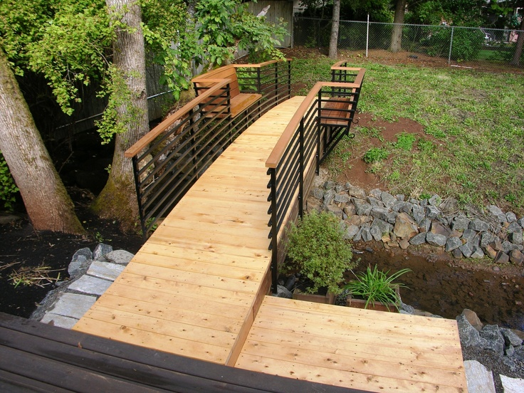 Contemporary Arched Foot Bridge with Bench   Foot Bridges