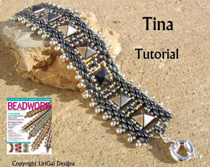 9cdc4428208d6 Tutorial Claudia SuperDuo and Tile Beadwork Bracelet PDF   Pinterest ...