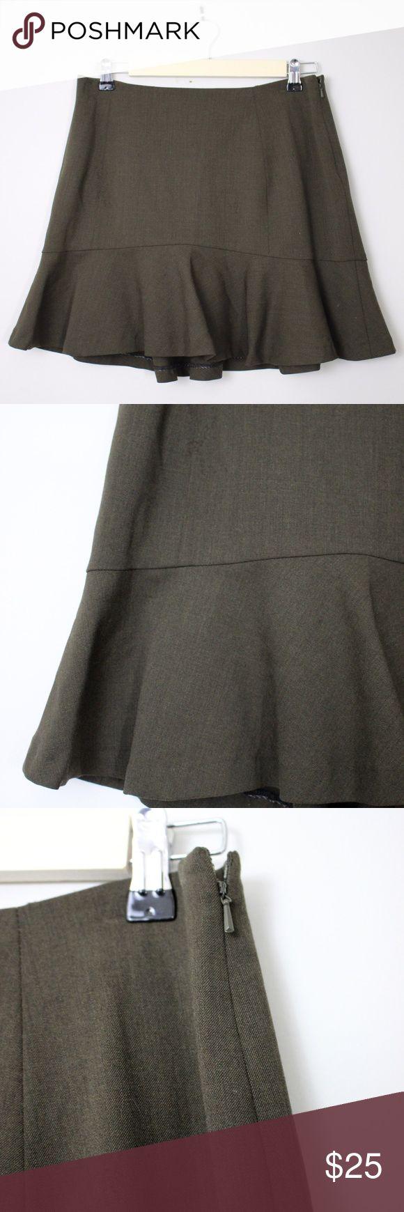 """Lauren Ralph Lauren Green A-Line Flounce Skirt Lauren Ralph Lauren Safari Olive Green A-Line Flounce Trumpet Hem Skirt.  Measurements (flat / un-stretched): Tagged Size: 12 Waist: 30"""" Hips: 42"""" Length (center back to hemline): 19½"""" Lauren Ralph Lauren Skirts"""