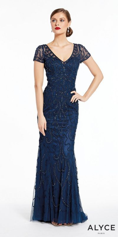 699470fa181 Steal the spotlight in the picture perfect Short Sleeve Keyhole Back  Embellished Soutache Evening Dress by Alyce Paris. This red carpet ready  style features ...