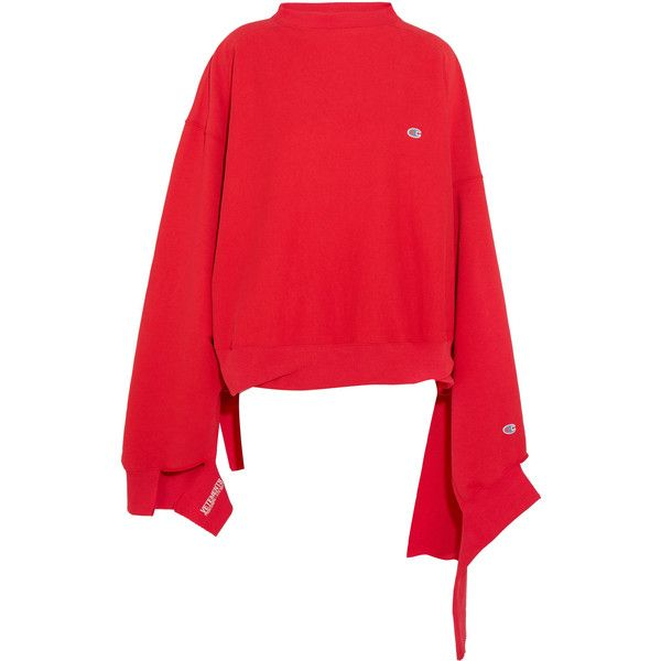 Vetements + Champion In Progress oversized cotton-blend top (£645) ❤ liked on Polyvore featuring tops, hoodies, sweatshirts, sweaters, oversized tops, destroyed sweatshirt, cut out sweatshirt, oversized sweatshirts and thick sweatshirt