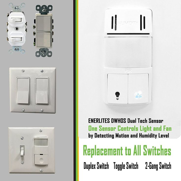 Enerlites DWHOS-W Humidity/Motion Sensor Switch for Bathroom Fan & Light, Dual Technology Controls 2 Loads, Face Cover Interchangeable, White - - Amazon.com