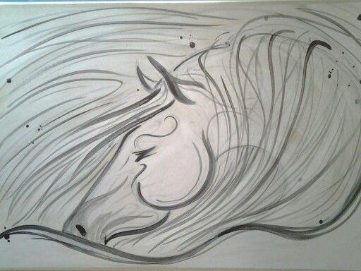 50x70cm cavallo grigio Horse art by Serena Della Bona