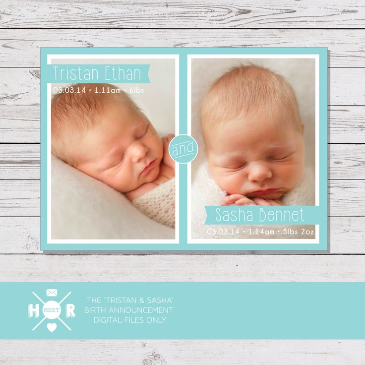 Printable - The 'Tristan & Sasha' Twins Birth Announcement | Baby Thank You Card by hudsonmeetrose on Etsy