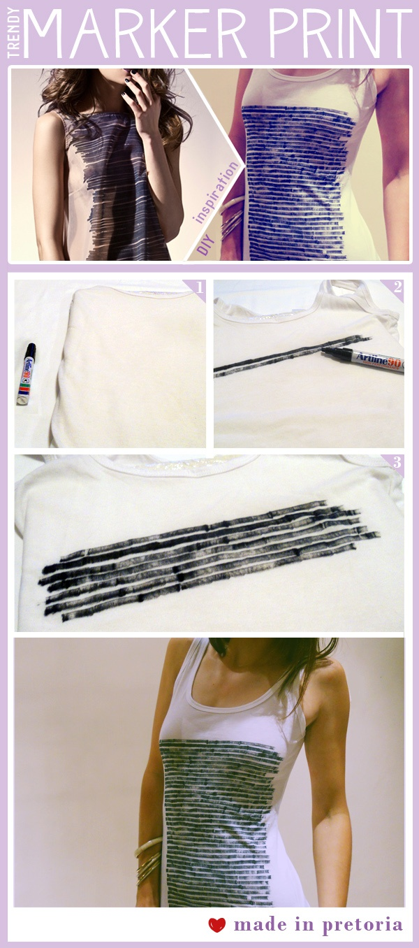 Marker print - spice up a plain shirt however you want with a permanent marker.
