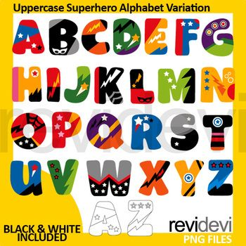 Superhero alphabet clipart set. Complete A to Z big cap letters. Uppercase superhero alphabet variation clip art set also includes black and white version. Great clipart collection to teach kids about the alphabet. Please note: These are cliparts, and NOT FONT.