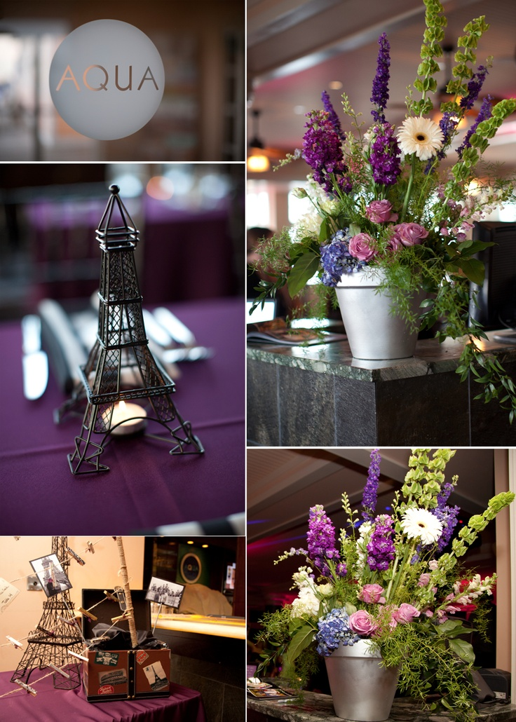 purple themed bridal shower%0A Rustic wedding flower centerpieces  Paristhemed wedding decor  love the  color palette