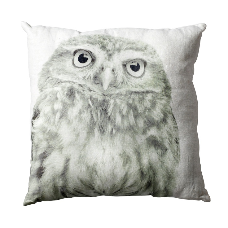 Bloomingville Sierkussen Owl Print Wit