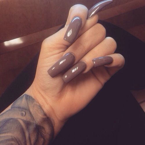 Long taupe nails