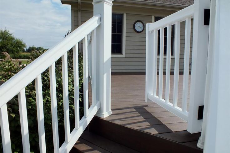 TimberTech railing (RadianceRail) in coastal white with gate - this is going on our front porch