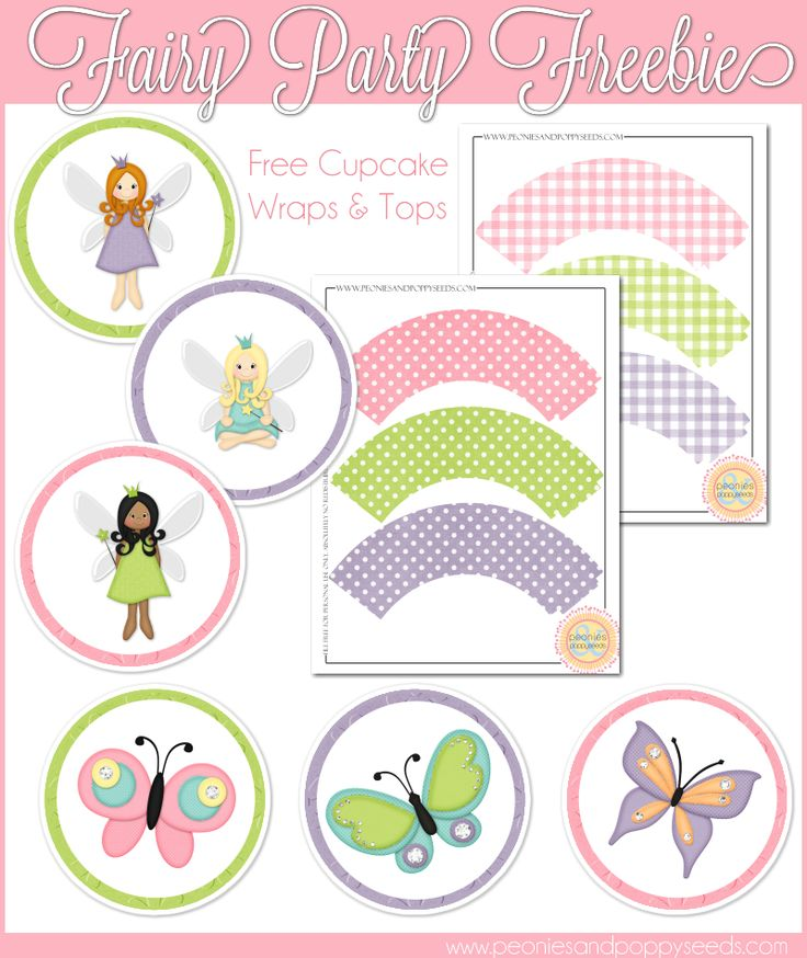 Fairy & Butterfly Party! We have free #fairy #printables coming to the blog all this next week, so be sure to stop by and grab 'em! To start: cupcake toppers and wrappers. http://www.peoniesandpoppyseeds.com/2012/09/fairy-party-cupcake-printables.html