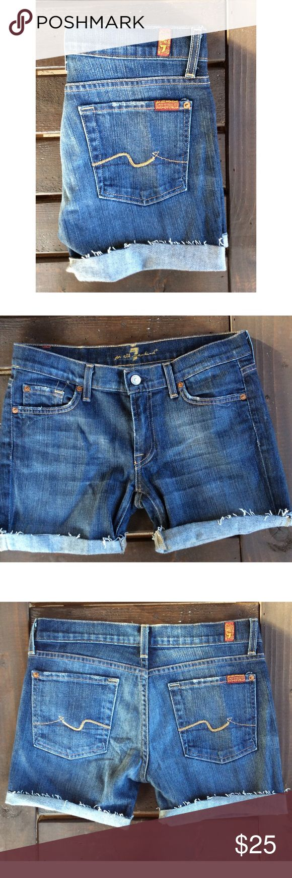 Cutoff Jean Shorts Size 28 Cutoff Jean Shorts Size 28, hem is not stitched 7 For All Mankind Shorts Jean Shorts
