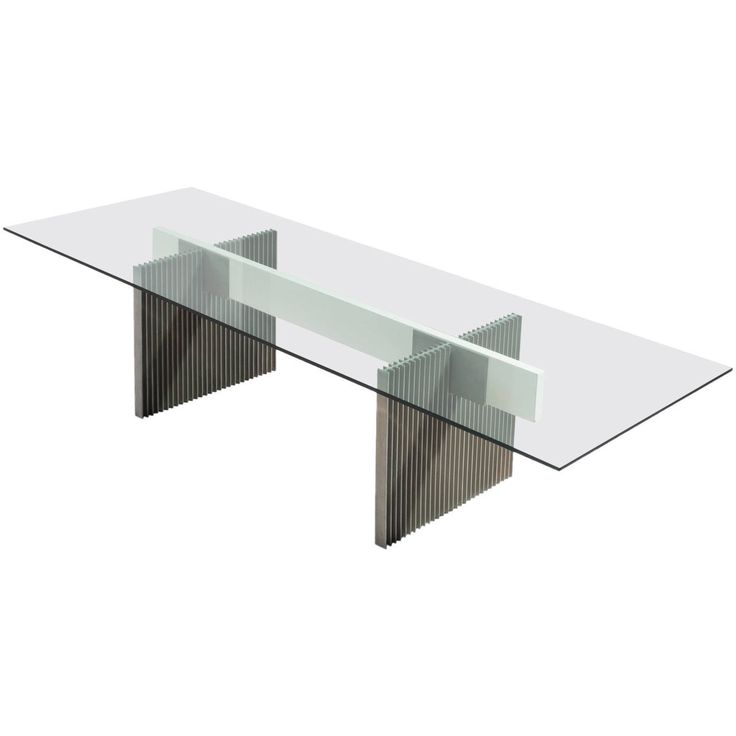 Large Dining / Conference Table With Glass And Metal Base
