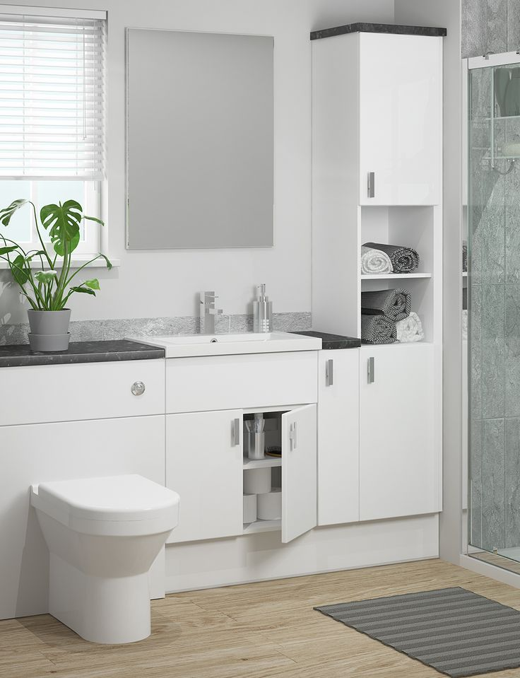 A bathroom classic. Create a clean and tranquil look with a beautiful matt white finish that feels just as luxurious. The three door styles available in matt white offer three totally different looks. Slab doors have a minimalist effect, saponetta adds depth and shaker has a more traditional look.